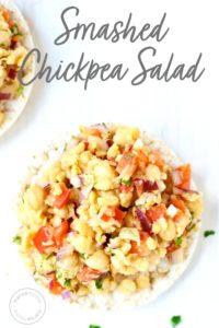 Smashed Chickpea Salad on a big rice cake