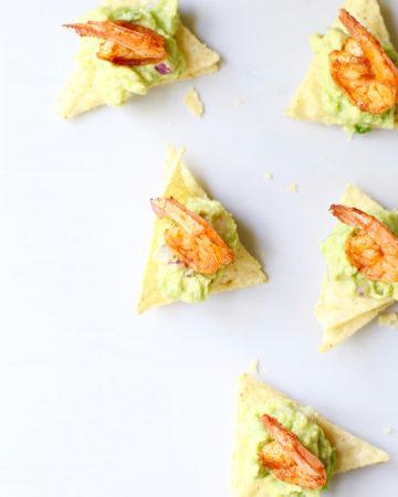 Healthy Party Appetizer - Chipotle Shrimp Guacamole Bites