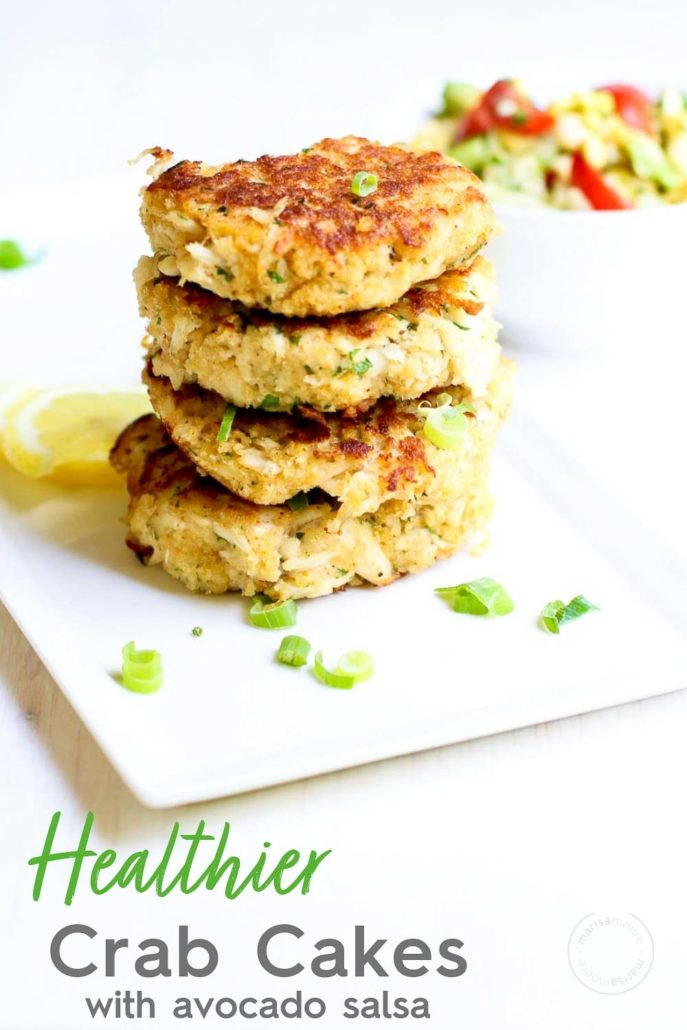Healthier Crab Cakes with avocado salsa in back