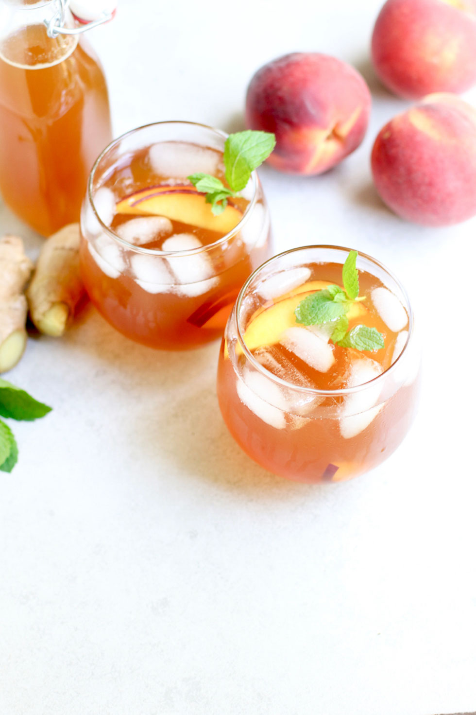 Peach Ginger Mint Iced Tea