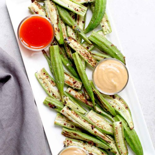 Spicy Roasted Okra With Peanut Sauce Marisa Moore Nutrition