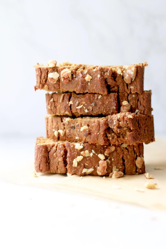 Pumpkin Banana Nut Bread slices stacked
