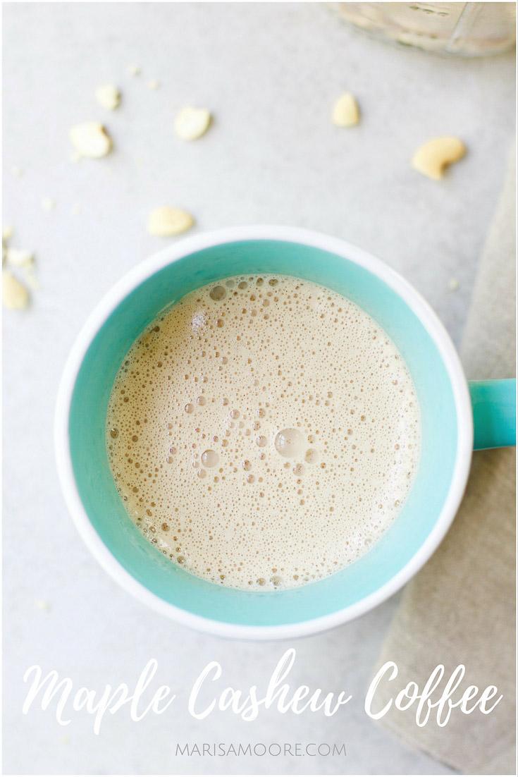 Maple Cashew Coffee in a blue mug