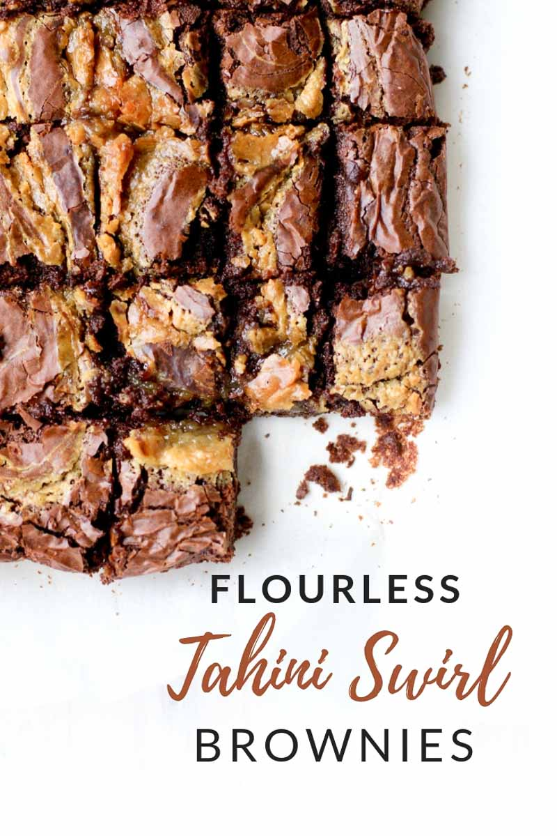 These flourless tahini brownies are a grain-free, gluten-free dessert that's perfect for your next party.  #grainfree #healthydessert