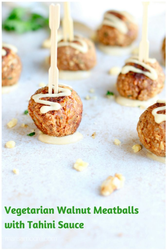 Vegetarian Walnut Meatballs with skewers