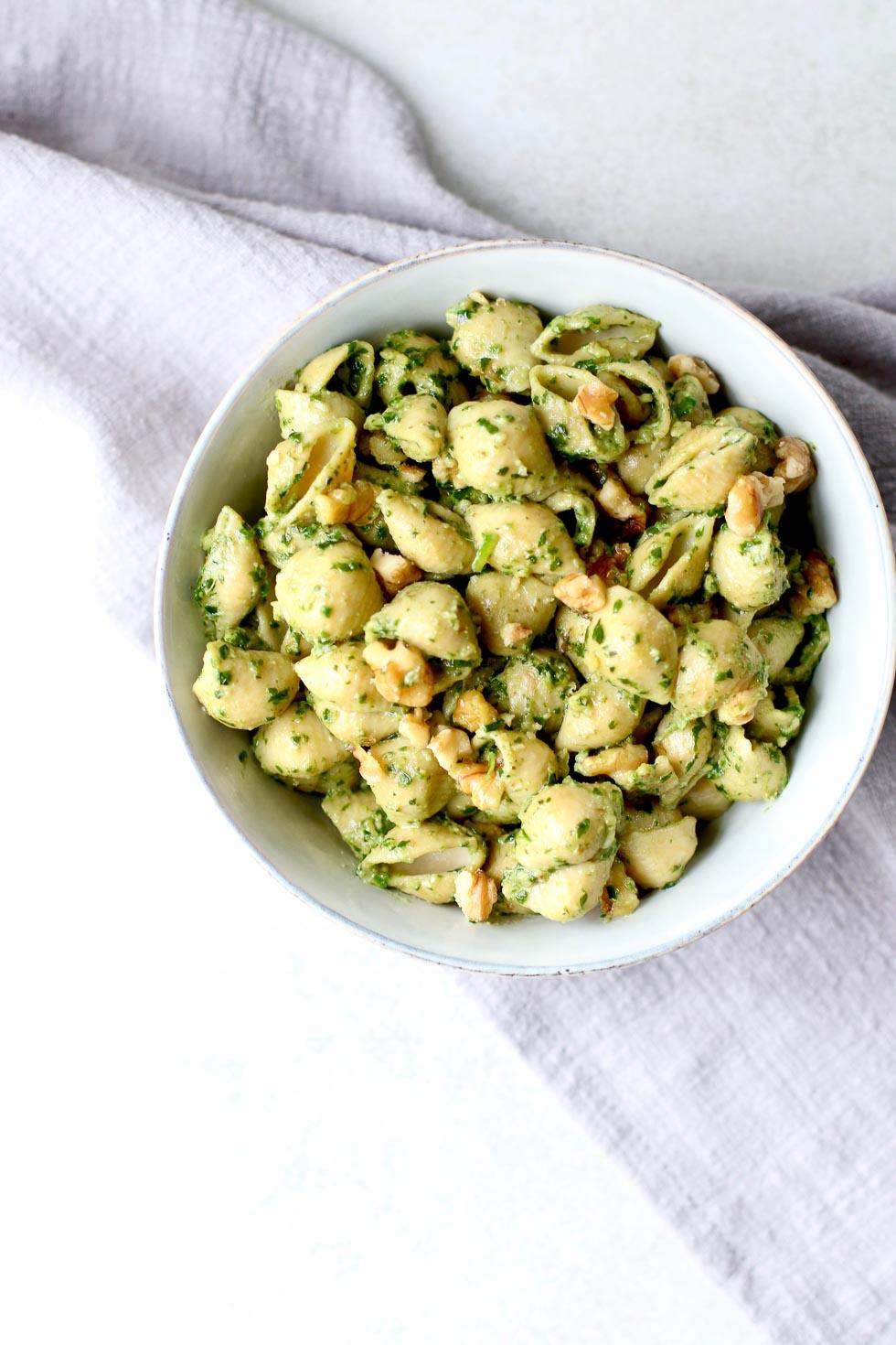 Vegan Chickpea Pesto Pasta Marisa Moore Nutrition