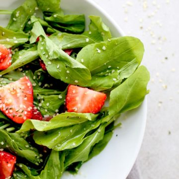 Strawberry Arugula Salad with Hemp Seed Lovely Close Up