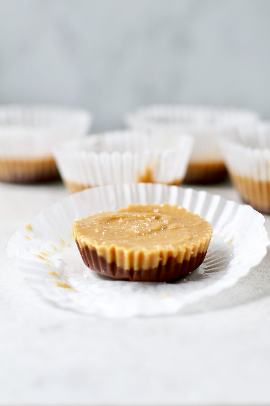 Almond Butter cup with muffin liner opened