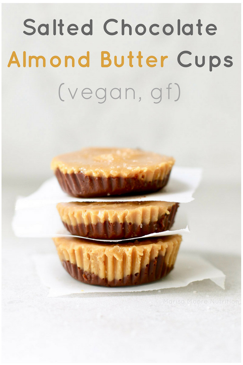 Salted Chocolate Almond Butter Cups Stacked