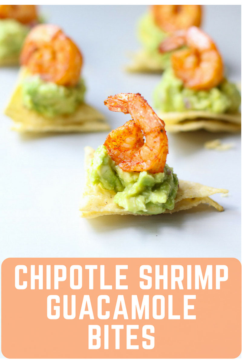 This gluten-free appetizer combines shrimp and guacamole for a healthy snack that's easy to make. These chipotle shrimp and guacamole bites are the best party appetizer! #healthyappetizer #shrimprecipes #guacamole #avocadoappetizers #easyappetizerrecipes #marisamoorenutrition