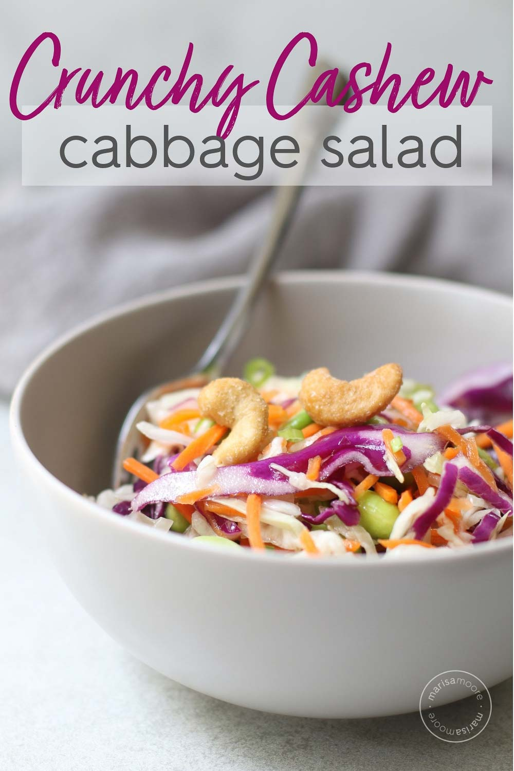 Crunchy Cashew Cabbage Salad in a bowl