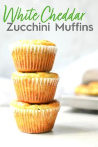 White Cheddar Zucchini Muffins Stacked