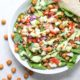 Chipotle Chickpea Taco Salad with tortilla overhead
