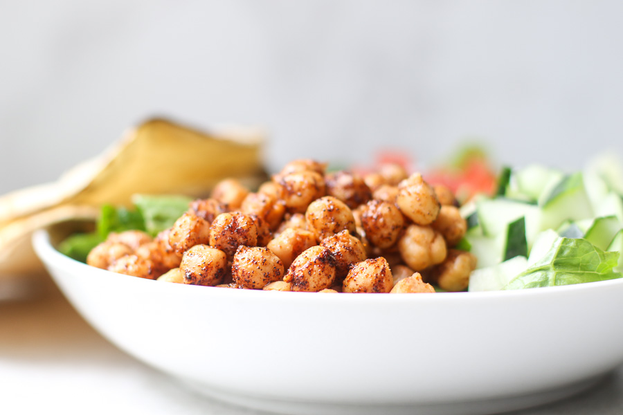 Chipotle Chickpeas Close Up in white bowl