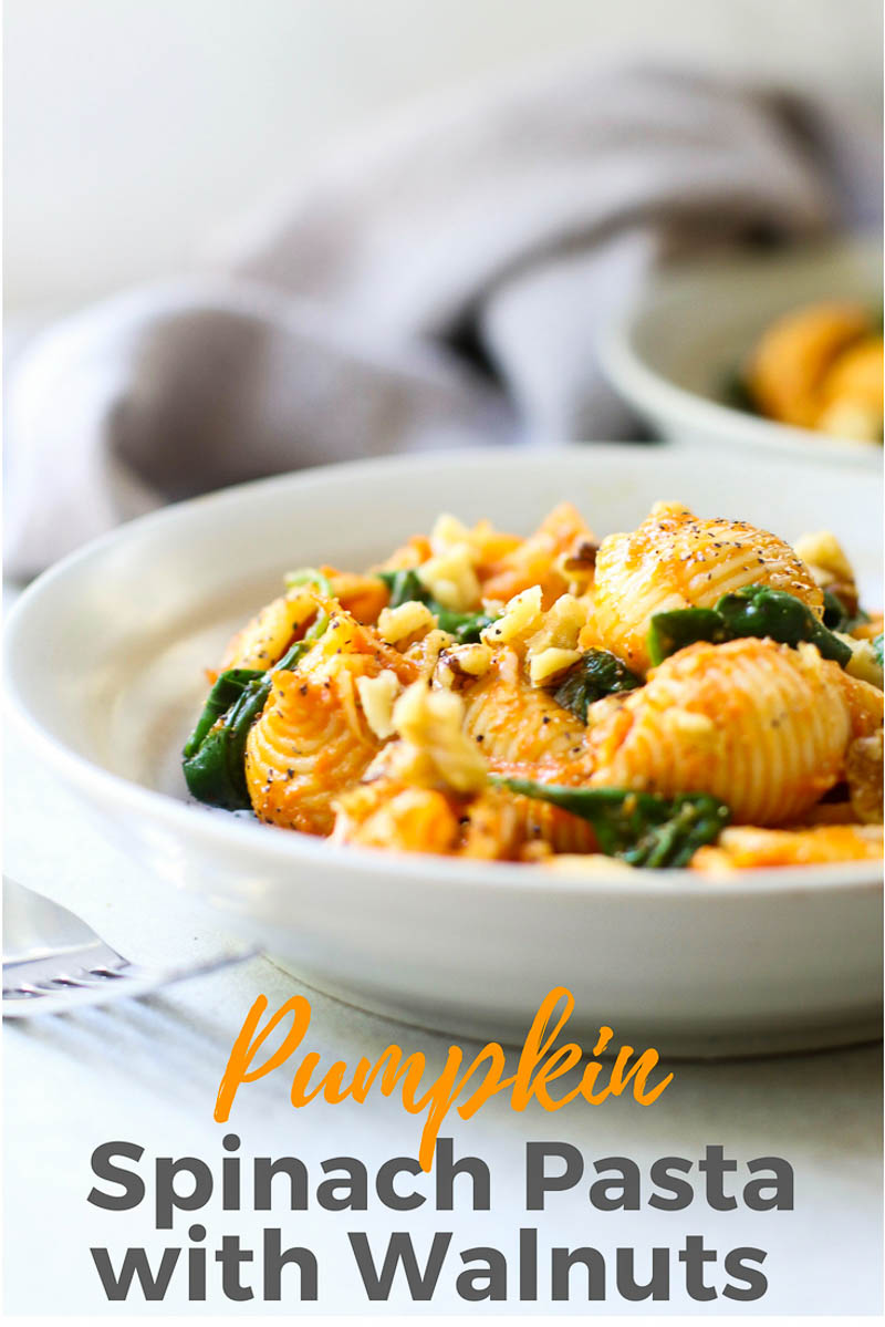 Pumpkin Pasta with Toasted Walnuts and Spinach