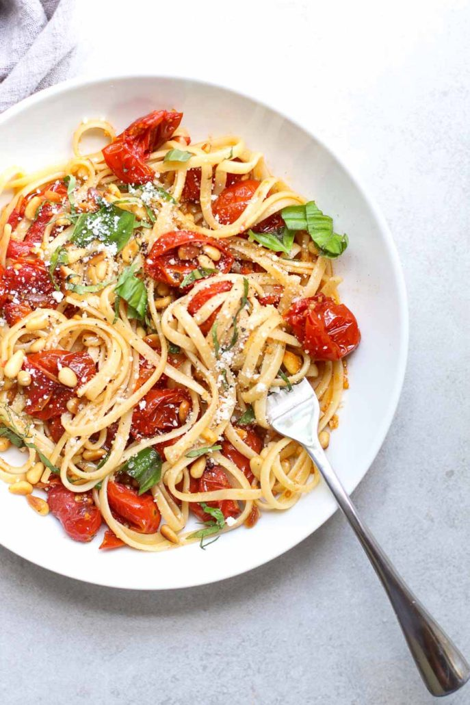 Slow Roasted Tomato Basil Linguine with Toasted Pine Nuts