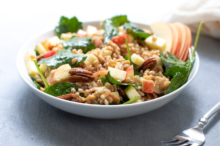 Apple Farro Salad in bowl