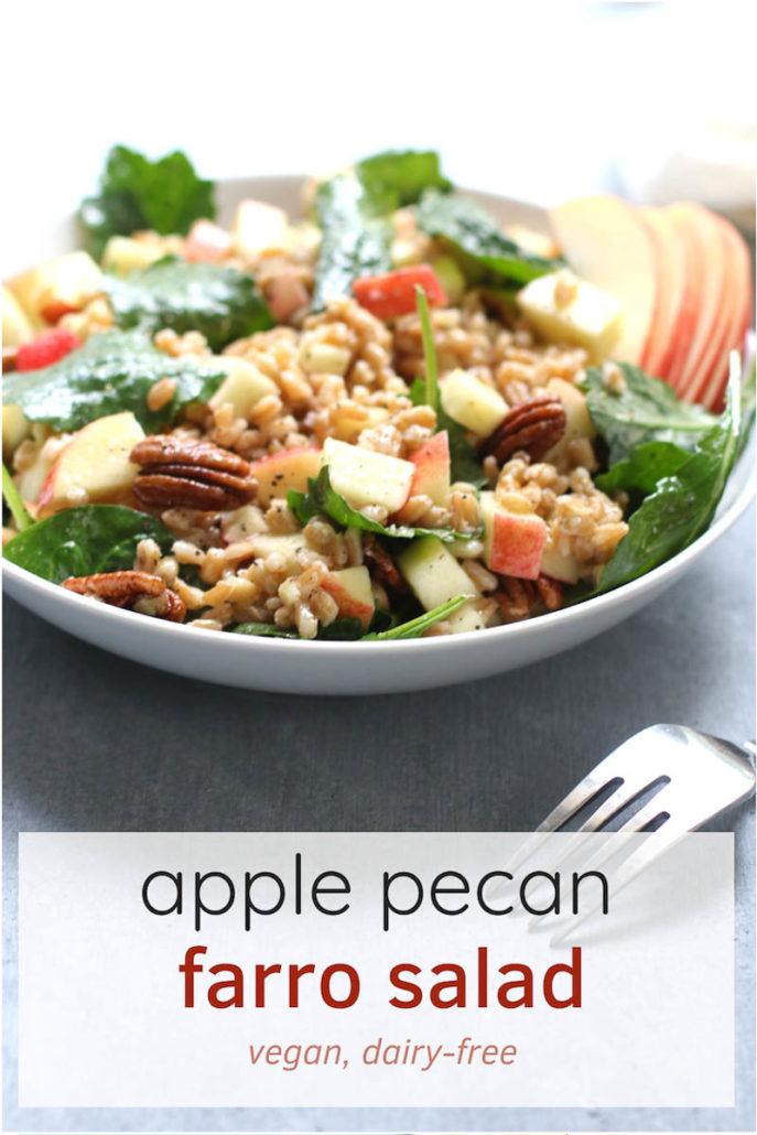 Apple Pecan Farro Salad in a bowl