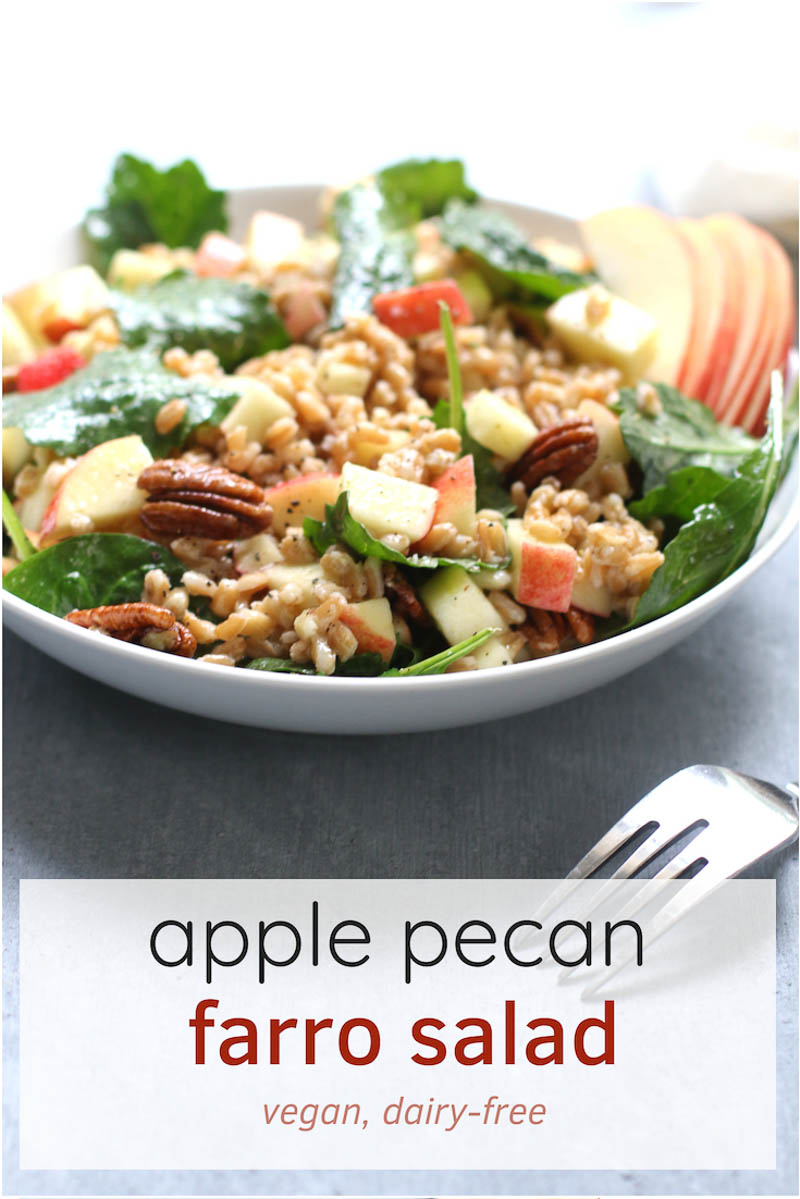 This autumn apple pecan farro salad with sweet, tart apple cider vinaigrette is an easy vegan lunch. It's a nutty, fall harvest salad. #healthyrecipe #apples
