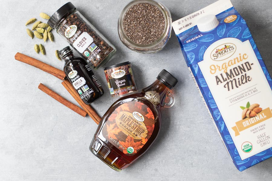 Chia Pudding ingredients flatlay