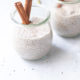 Collagen Chia Pudding in jars with cinnamon stick