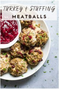 Turkey and Stuffing Meatballs in a bowl
