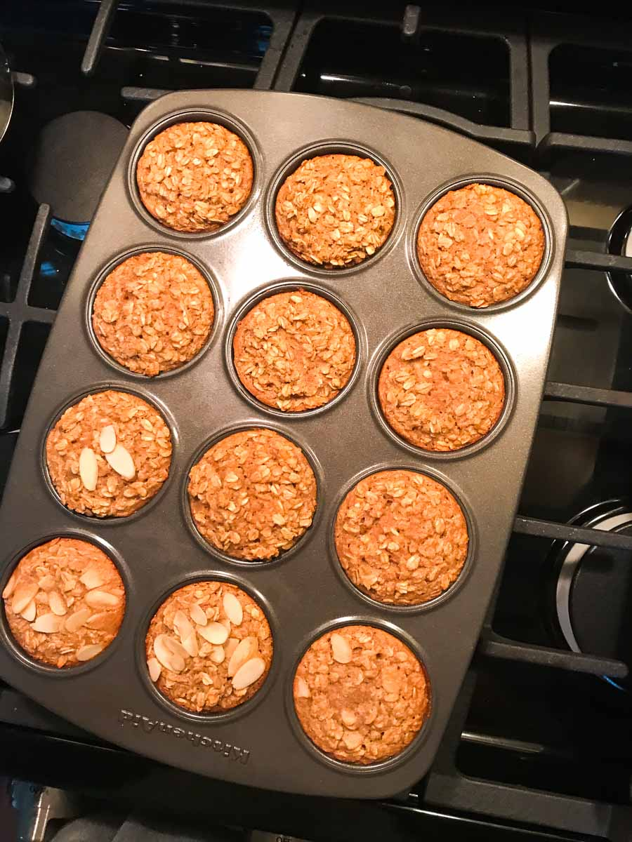 Baked Oatmeal Cups in Muffin Tin on stove