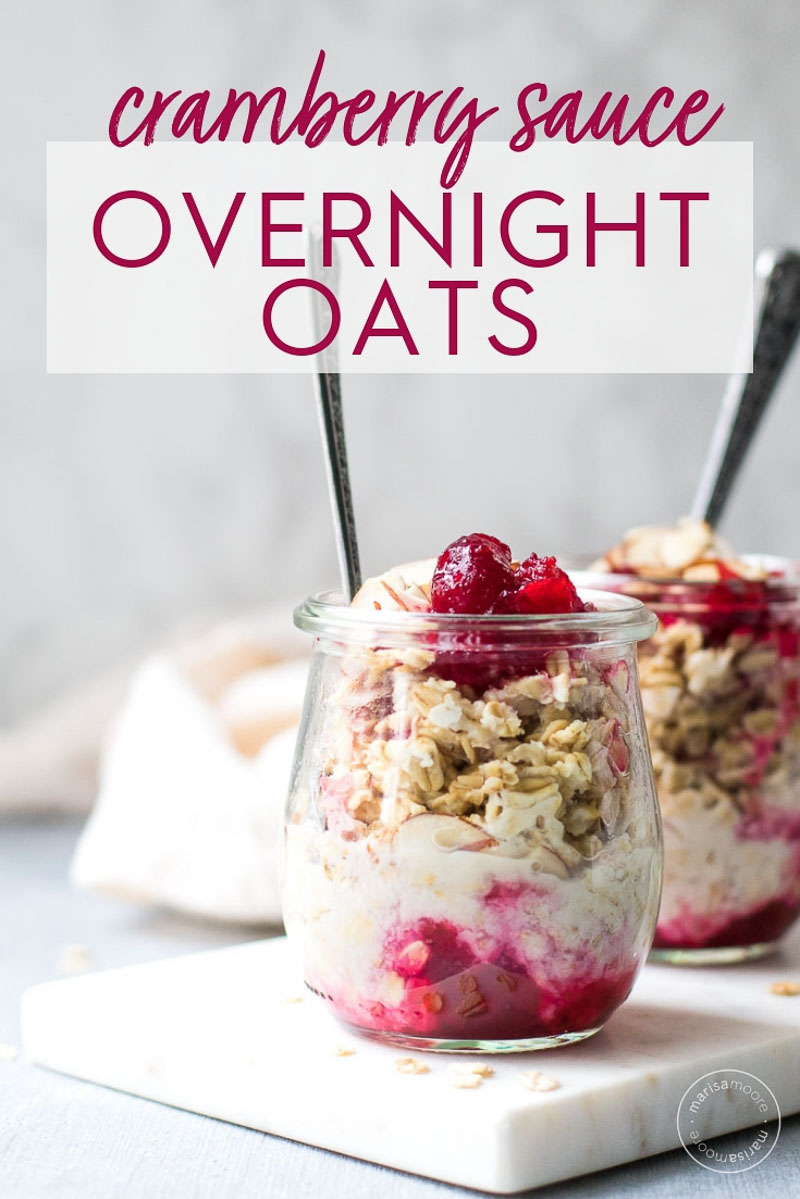 Cranberry Sauce Overnight Oats in jars