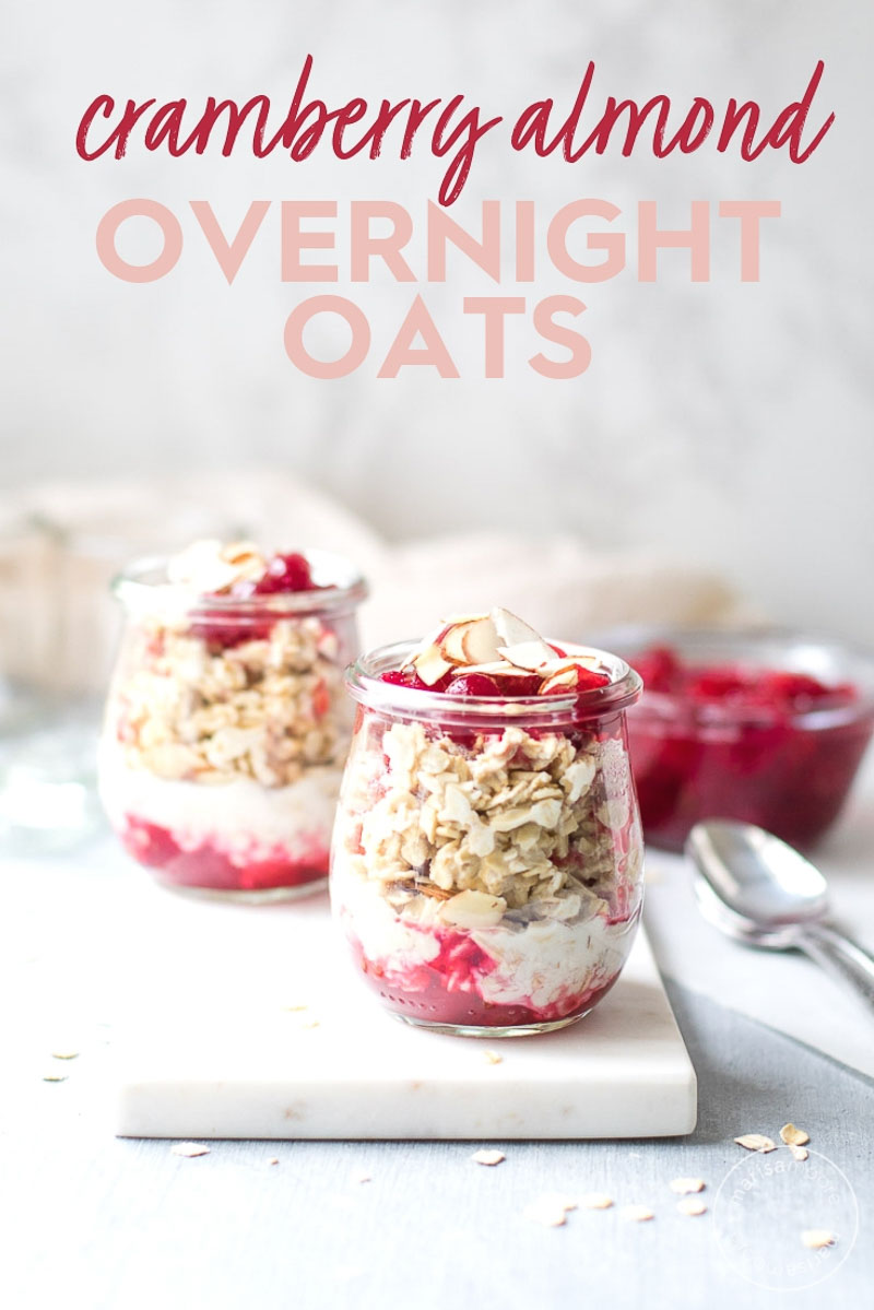 Use up leftover cranberry sauce in overnight oats! Send your holiday guests home with a vegan breakfast using non-dairy milk and almonds. #healthyrecipes #healthyfood