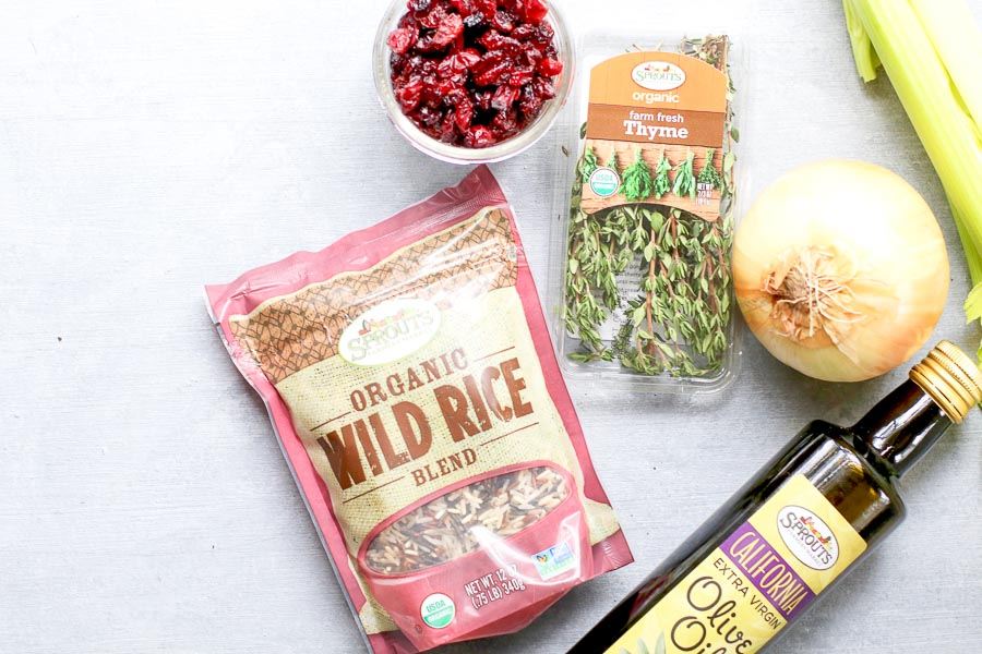 Ingredients for vegan wild rice stuffing