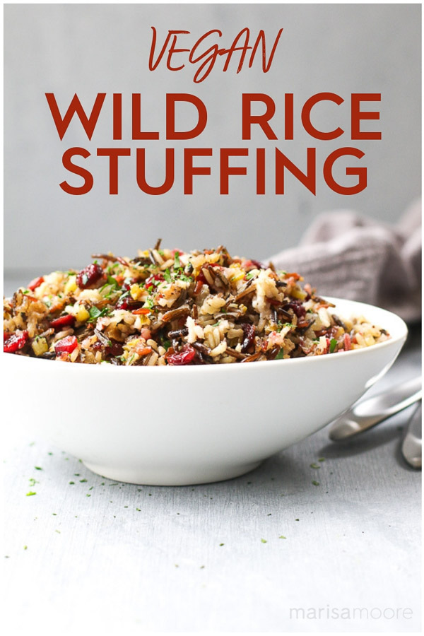 This vegan wild rice stuffing is easy to make and packed with the flavors of Thanksgiving. It's also a great gluten-free stuffing recipe the entire family will love! #ThanksgivingRecipes #stuffingrecipes