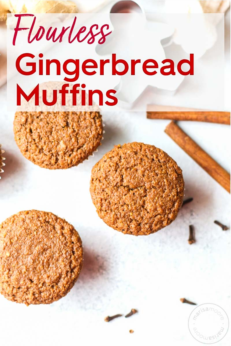 This vegan flourless gingerbread muffin recipe includes fresh ginger, molasses, and spices and tastes like the holidays. These make-ahead gluten-free muffins use oat flour and no refined sugar for a healthy Christmas morning breakfast or snack! #gingerbread #healthyrecipes #muffins