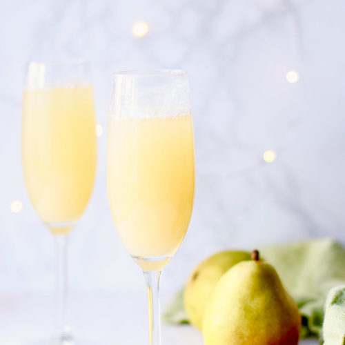 Pear Prosecco Punch in flutes