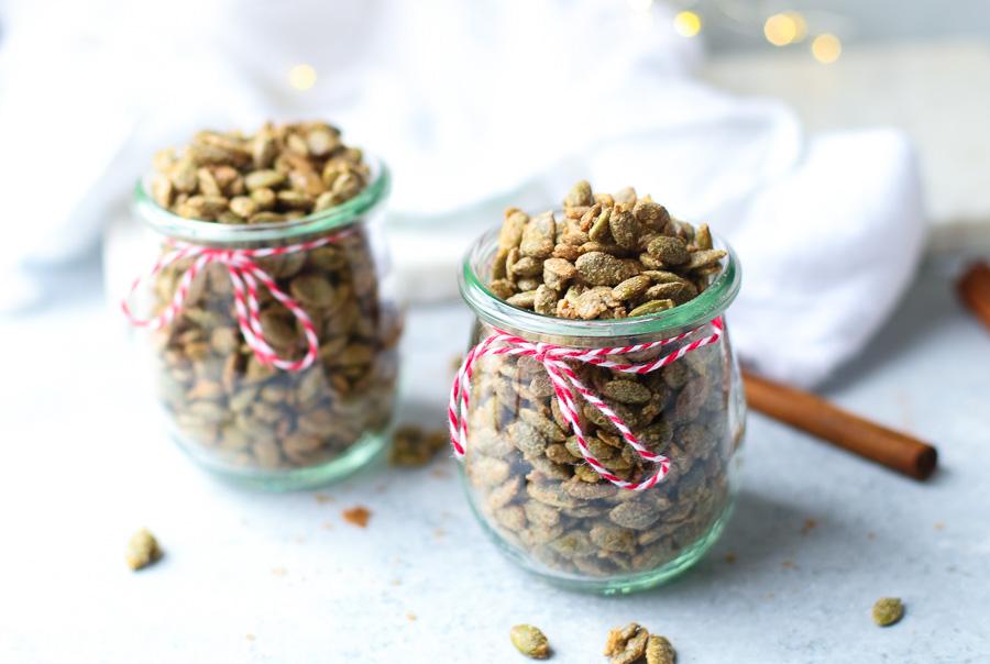 spiced pepitas in jars