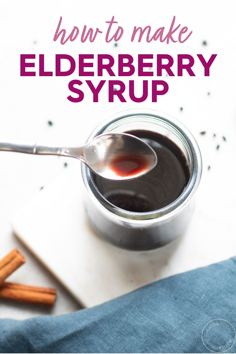 elderberry syrup on a spoon