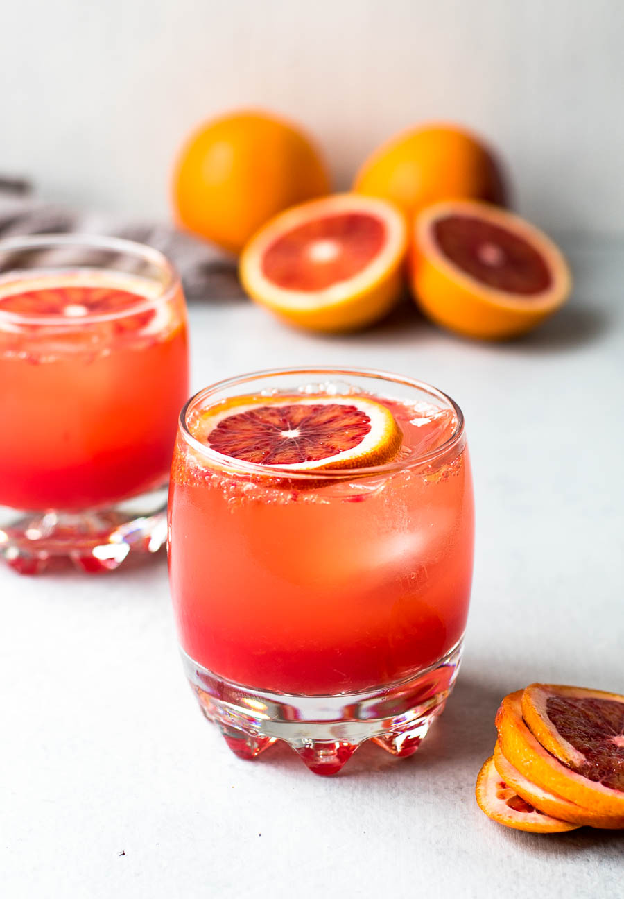 Blood Orange Mocktail in Glasses