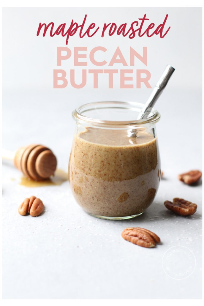 pecan butter in jar with syrup
