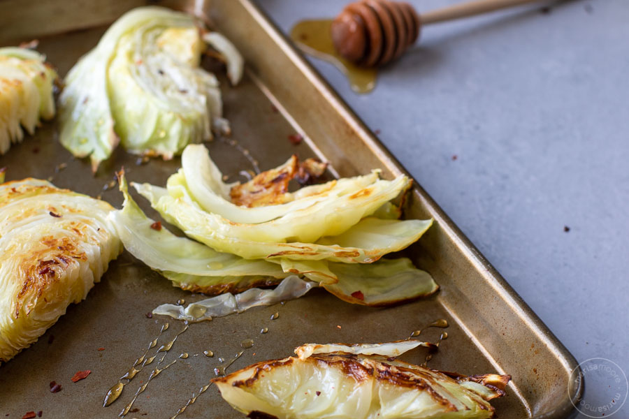 Roasted cabbage on a sheet pan