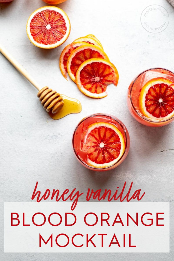 honey vanilla sparkling blood orange mocktail