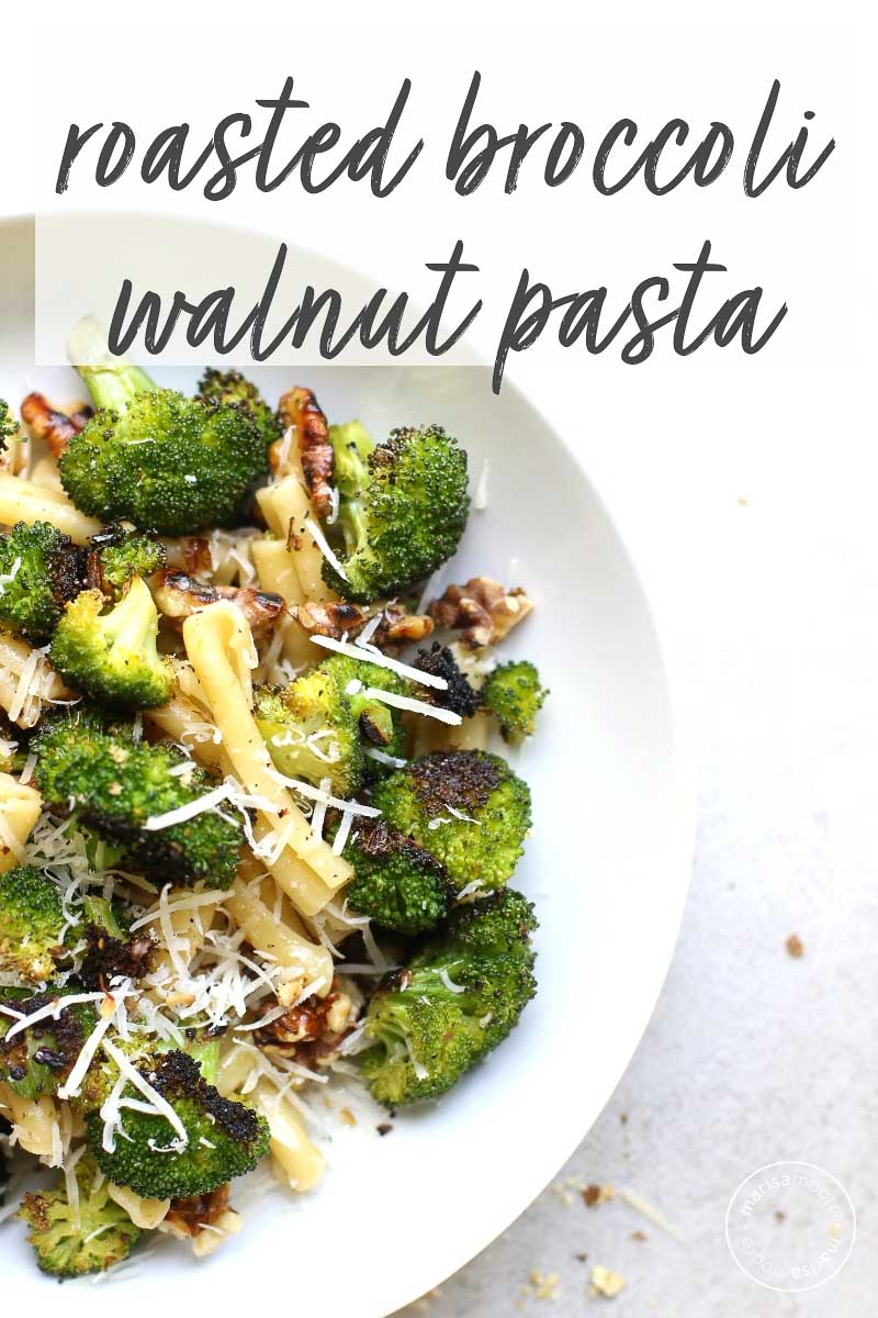 This Roasted Broccoli & Walnut vegetarian pasta dish is ready in 20 minutes and needs only 7 ingredients to make.  It's an easy weeknight vegetarian dinner! #pasta #broccoli #walnuts