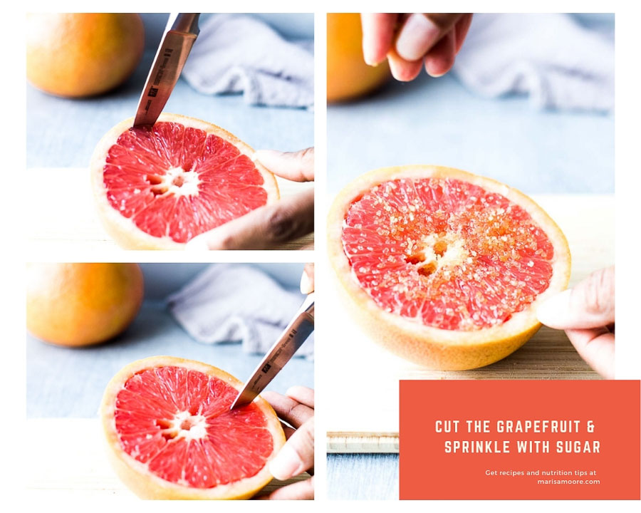 Cut the grapefruit & Sprinkle with sugar
