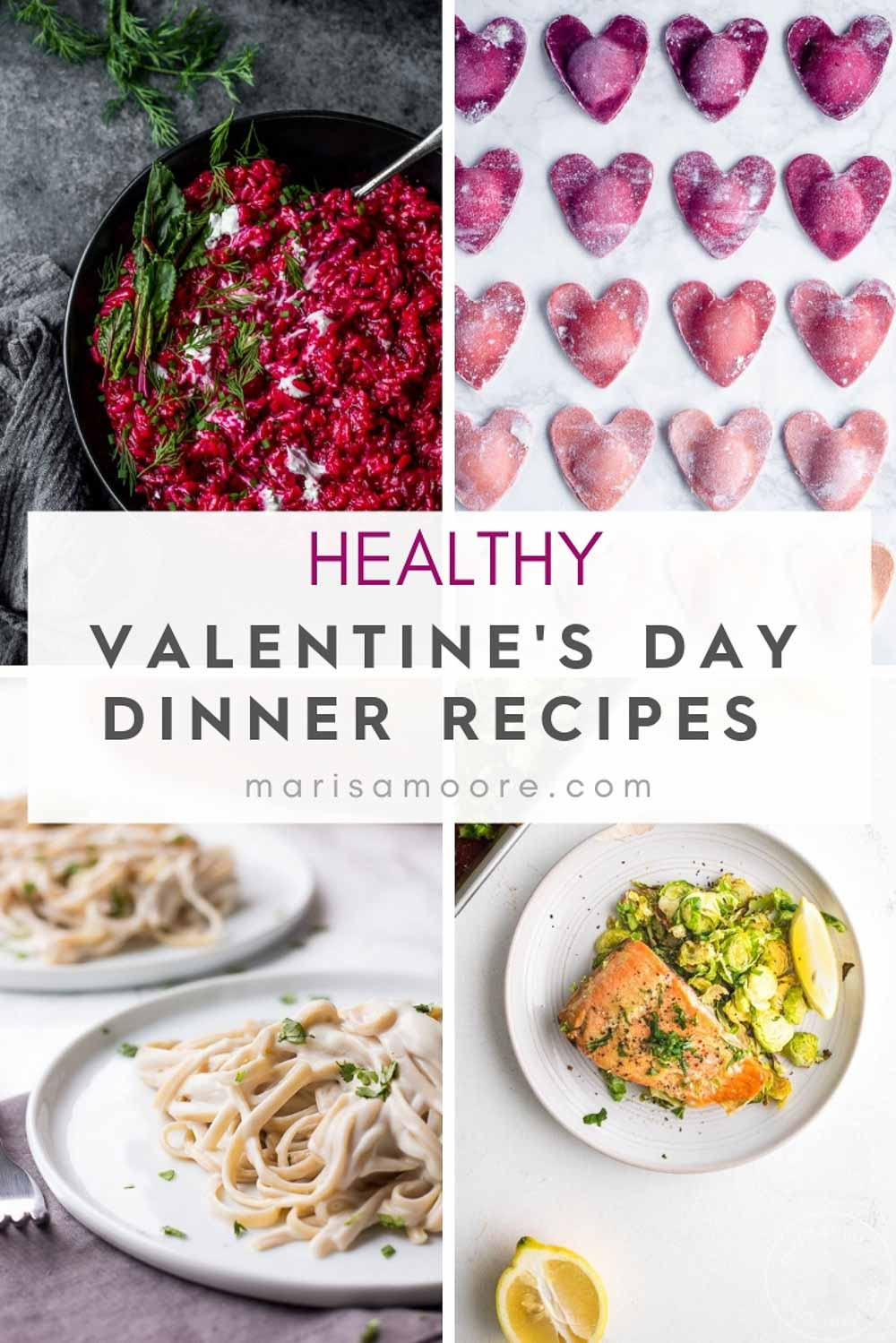 Healthy Valentines Day Dinner Recipes Collage