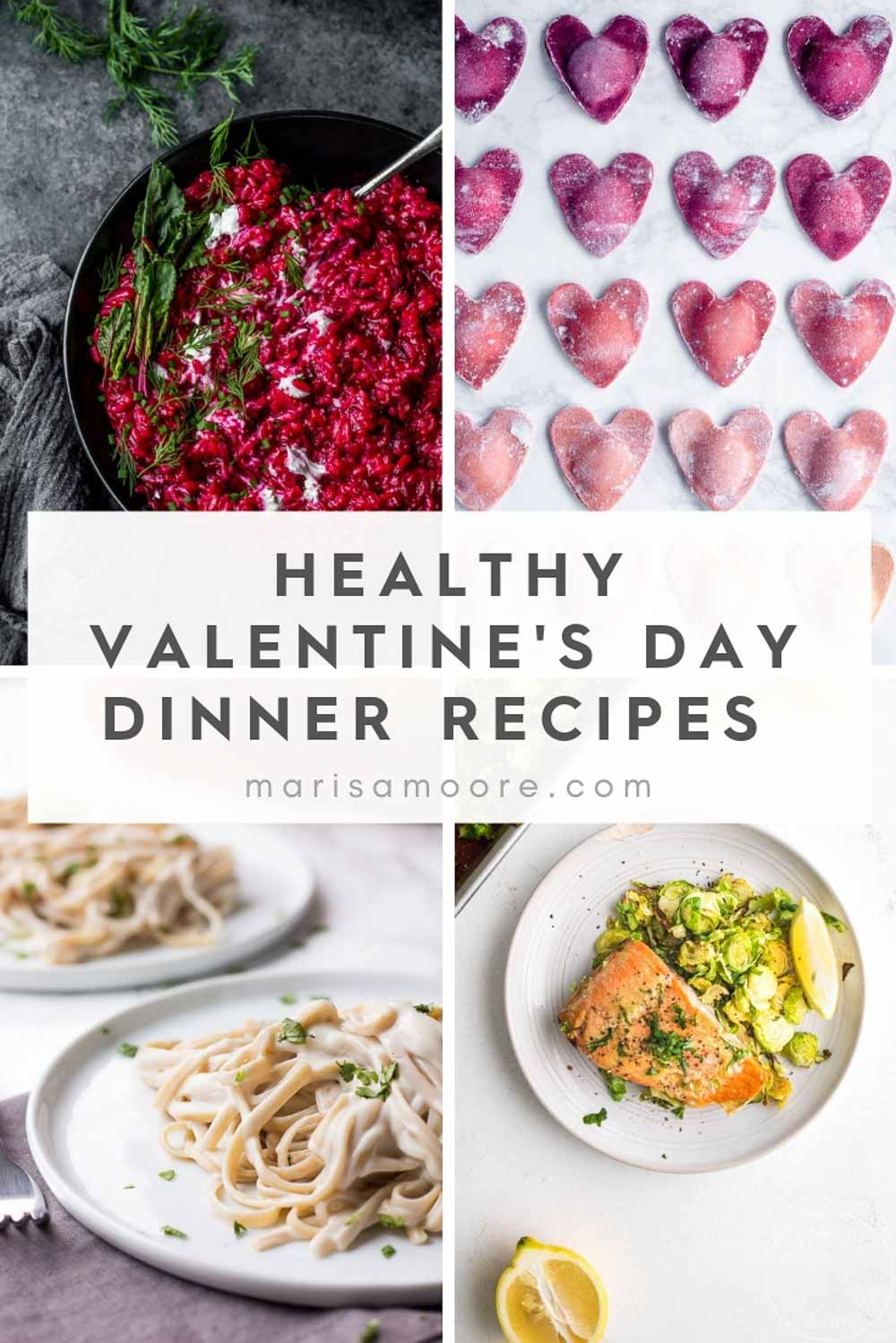 These healthy Valentine's Day Dinner Recipes will make it easy to enjoy a date night in! These healthy Valentine's Day dinner recipes are perfect for two. #healthyrecipes #valentinesdayrecipes