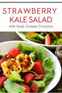 Kale Strawberry Salad with text on top