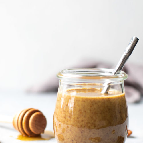 Maple Pecan Butter in jar with spoon