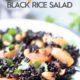 cara cara oranges and cashew black rice salad on a plate