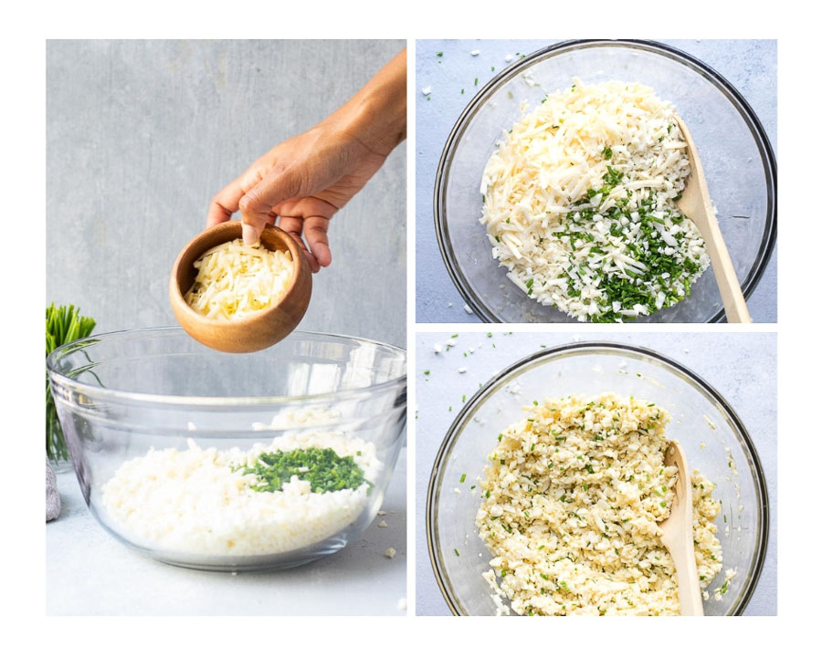 Step by Step Mixing Cheddar Cauliflower Bites