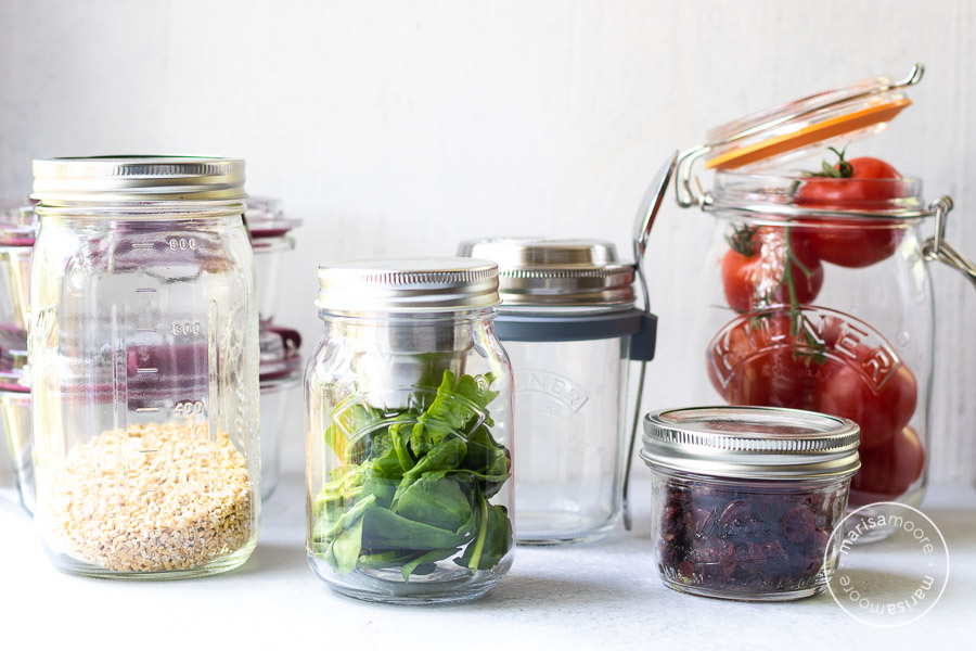 Assortment of glass jars with lids
