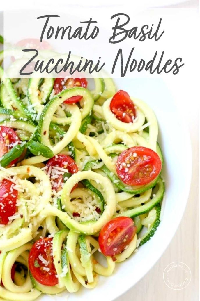 Tomato Basil Zucchini Noodles in white bowl