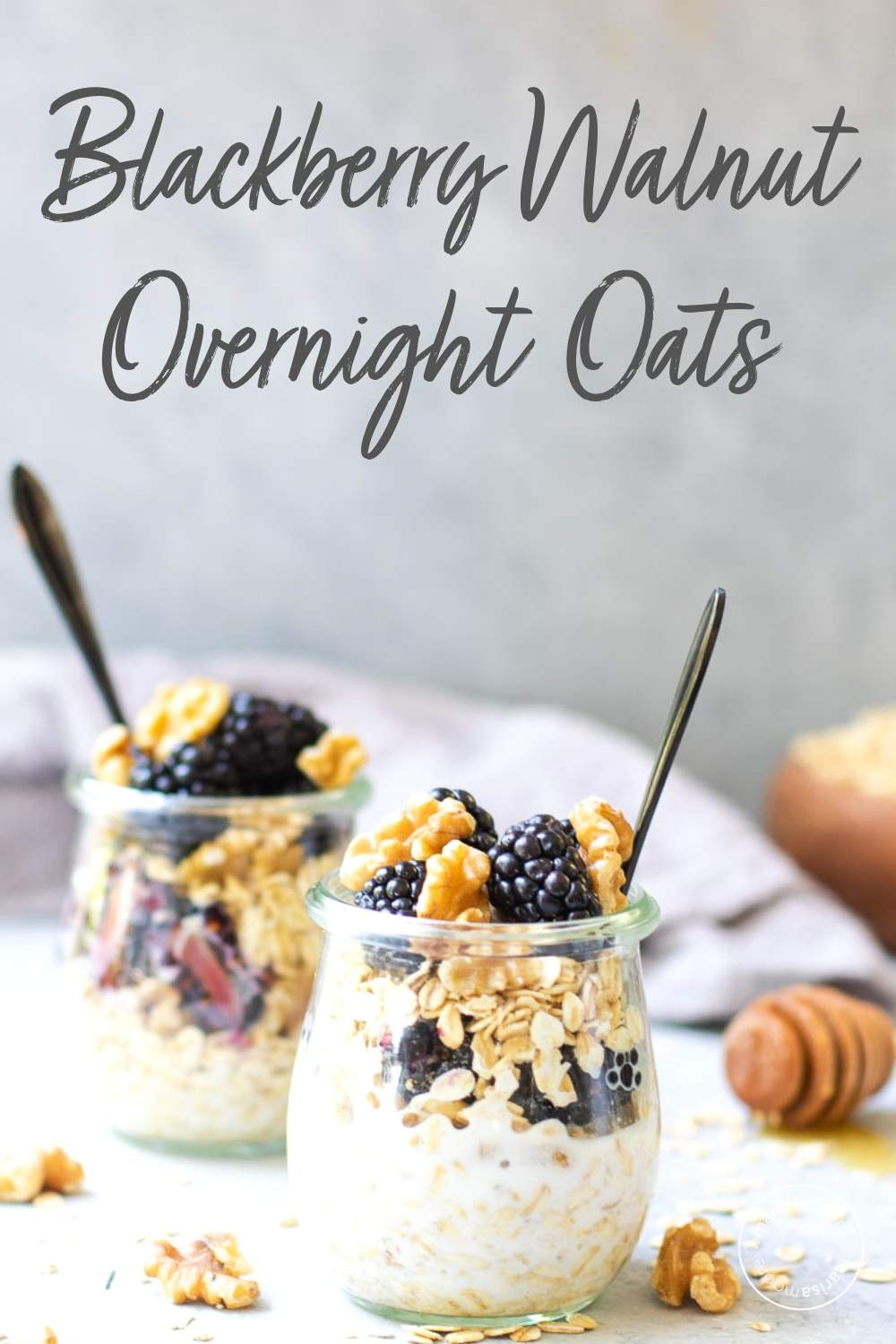 Blackberry Walnut Overnight Oats in 2 jars